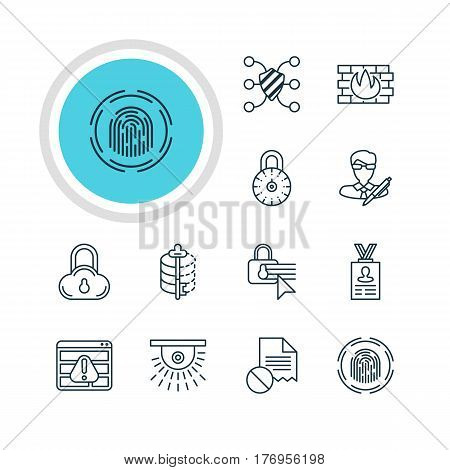 Vector Illustration Of 12 Data Protection Icons. Editable Pack Of Account Data, Encoder, Camera And Other Elements.