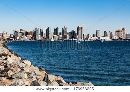 Downtown San Diego city skyline and bay as seen from Harbor Island.