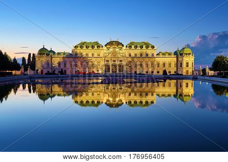 View Of Belvedere Palace In Vienna After Sunset, Austria