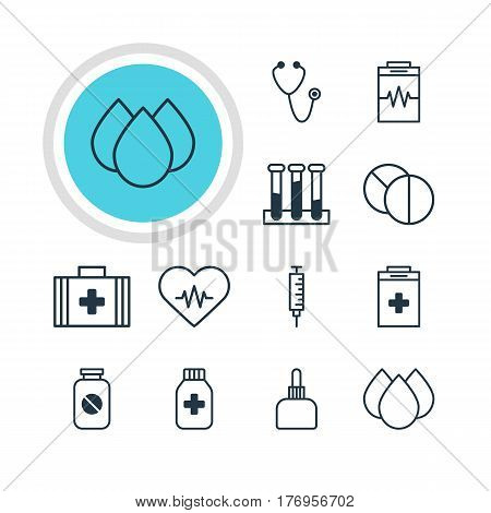 Vector Illustration Of 12 Medicine Icons. Editable Pack Of Experiment Flask, Aspirin, Treatment And Other Elements.