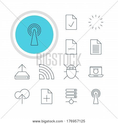 Vector Illustration Of 12 Internet Icons. Editable Pack Of Document Adding, Server, Waiting And Other Elements.