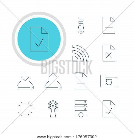 Vector Illustration Of 12 Network Icons. Editable Pack Of Delete Data, Server, Information Load And Other Elements.