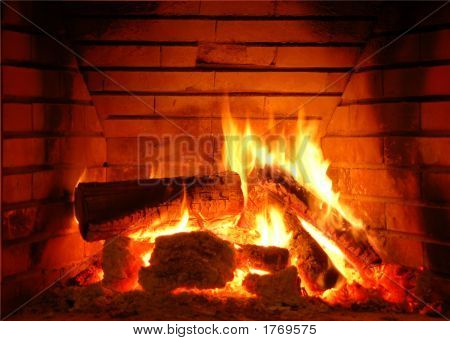My fireplace. Flames and fire leaving the fireplace poster