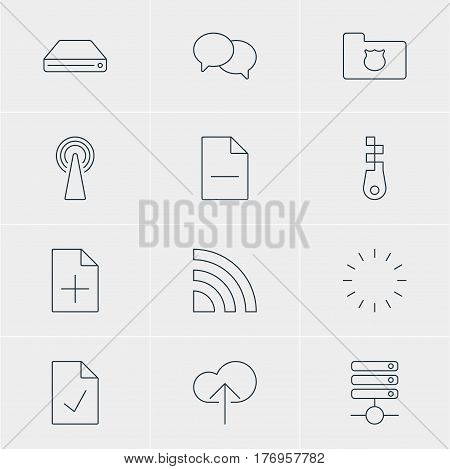 Vector Illustration Of 12 Internet Icons. Editable Pack Of Fastener, Hard Drive Disk, Talking And Other Elements.