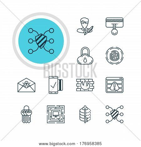 Vector Illustration Of 12 Internet Security Icons. Editable Pack Of Finger Identifier, Key Collection, Easy Payment And Other Elements.