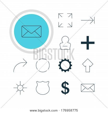 Vector Illustration Of 12 Member Icons. Editable Pack Of Sunshine, Share, Cogwheel And Other Elements.