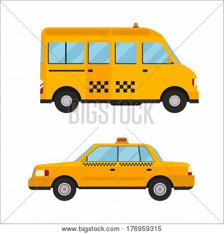 Taxi yellow bus car isolated on white background. Vector yellow taxi bus van and cab transport traffic urban. Road street service yellow taxi bus car isolated. Van truck taxi bus