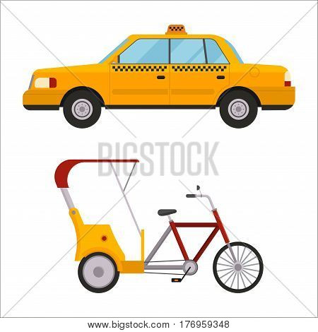 Taxi yellow car rickshaw isolated on white background. Vector yellow taxi and rickshaw. Road street service taxi cab. Traditional india rickshaw silhouette cycle cab.