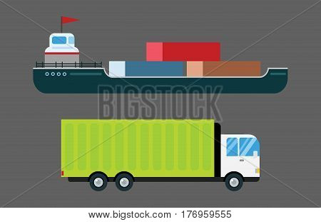 Transport delivery vector trucks ship isolated on white. Transportation cars, truck, van, fire truck, city cars, van truck, tanker. Delivery van vector silhouette. Vector car icons