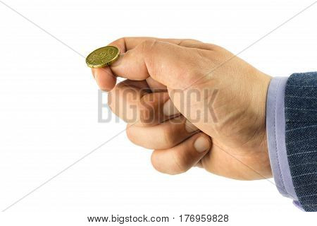 Golden euro cent on hand fingers tossing coin heads or tails game isolated on white background