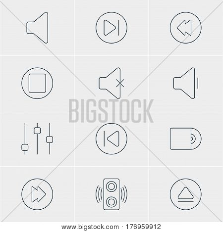 Vector Illustration Of 12 Melody Icons. Editable Pack Of Stabilizer, Decrease Sound, Soundless And Other Elements.
