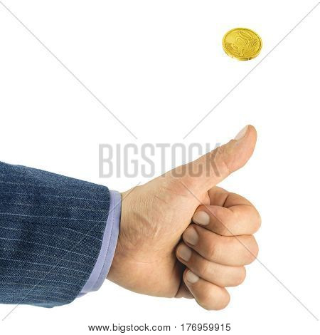 Men hand tossing coin golden euro cent heads or tails game isolated on white background