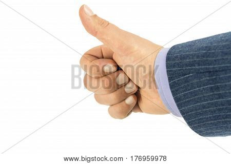Close-up of male hand in blazer showing thumb up isolated on white background