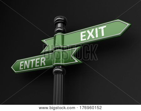 3D Illustration. Enter and exit pointers on signpost. Image with clipping path