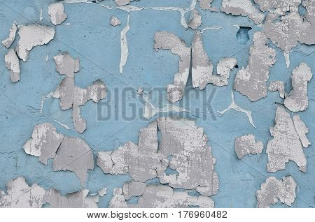 Close-up Weathered And Stained Obsolete Blue Concrete Wall Texture