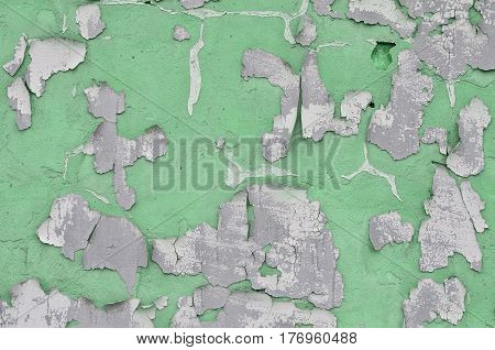 Close-up Weathered And Stained Obsolete Green Concrete Wall Texture