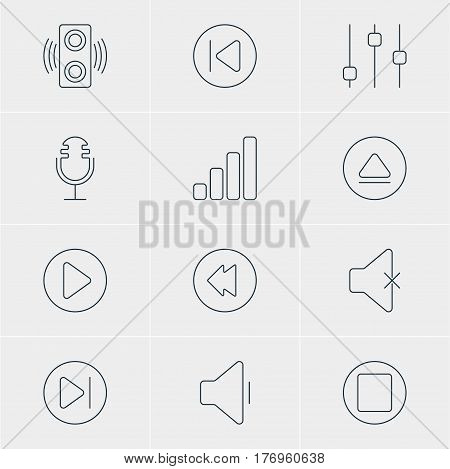Vector Illustration Of 12 Music Icons. Editable Pack Of Stabilizer, Rewind, Start And Other Elements.