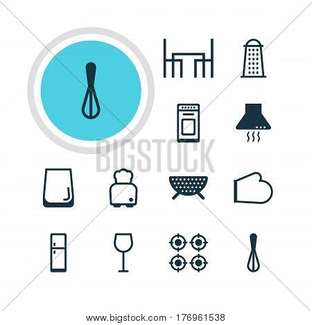 Vector Illustration Of 12 Cooking Icons. Editable Pack Of Extractor Appliance, Furnace, Sieve And Other Elements.