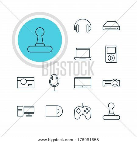 Vector Illustration Of 12 Device Icons. Editable Pack Of Memory Storage, Monitor, Joypad And Other Elements.