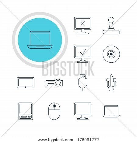Vector Illustration Of 12 Notebook Icons. Editable Pack Of Presentation, Tablet, Usb Icon And Other Elements.