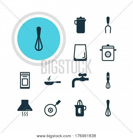 Vector Illustration Of 12 Kitchenware Icons. Editable Pack Of Corolla, Steamer, Handmixer Elements.