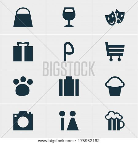 Vector Illustration Of 12 Check-In Icons. Editable Pack Of Cake, Shopping Cart, Handbag Elements.
