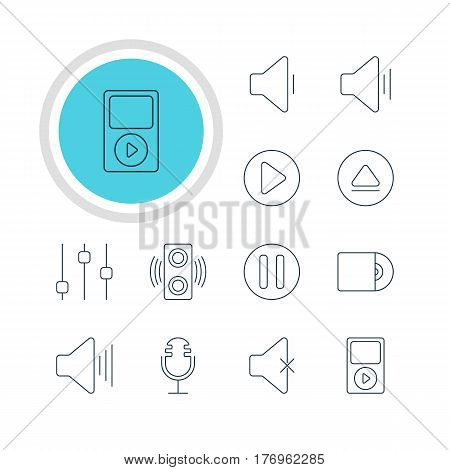 Vector Illustration Of 12 Melody Icons. Editable Pack Of Volume Up, Rewind, Soundless And Other Elements.