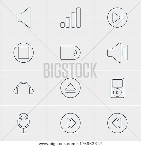 Vector Illustration Of 12 Music Icons. Editable Pack Of Speaker, Subsequent, Compact Disk And Other Elements.