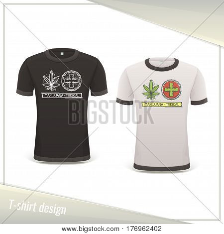 Design tshirts with the image of medical marijuana. Dark and light on a white background.