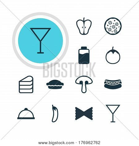 Vector Illustration Of 12 Eating Icons. Editable Pack Of Streetfood, Fungus, Flan And Other Elements.