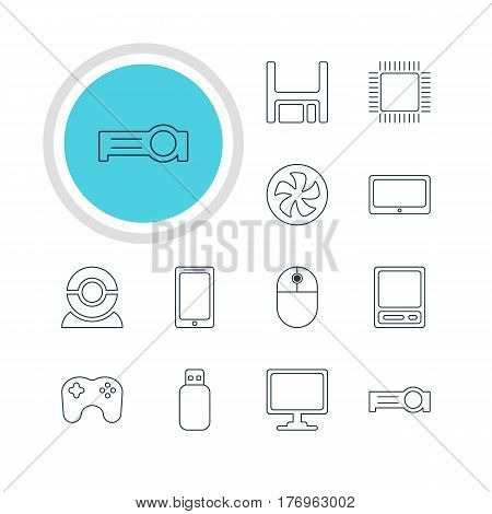 Vector Illustration Of 12 Laptop Icons. Editable Pack Of Gamepad, Smartphone, Diskette And Other Elements.