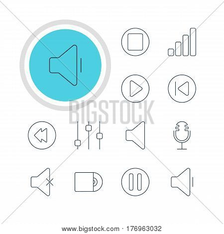 Vector Illustration Of 12 Melody Icons. Editable Pack Of Start, Preceding, Lag And Other Elements.