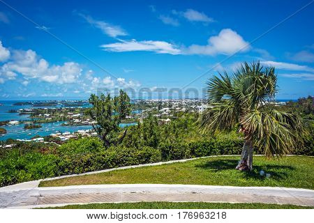 A scenic view from the top of Gibbs Hill in Bermuda.