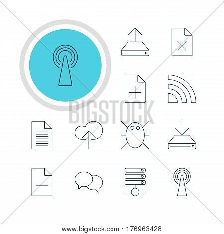Vector Illustration Of 12 Web Icons. Editable Pack Of Note, Router, Removing File And Other Elements.