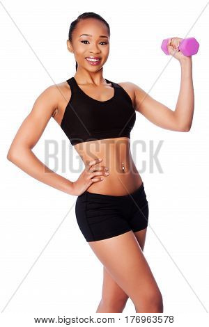 Happy Healthy Black Asian Woman With Dumbbell