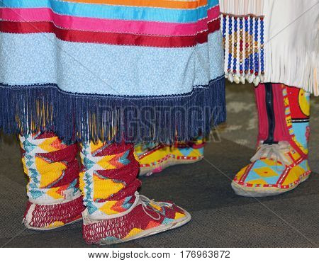 Closeup of Beaded Moccasins at Native American Powwow