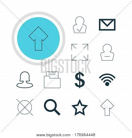 Vector Illustration Of 12 User Icons. Editable Pack Of Money Making, Remove User, Cordless Connection And Other Elements.
