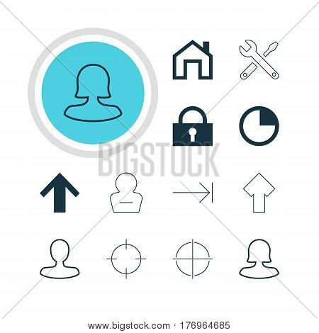 Vector Illustration Of 12 Interface Icons. Editable Pack Of Padlock, Mainpage, Man Member And Other Elements.