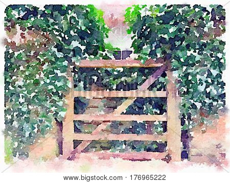 Digital watercolor painting of a closed wooden garden gate with green ivy growing on a brick wall either side. With space for text.