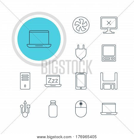 Vector Illustration Of 12 Computer Icons. Editable Pack Of Usb Icon, Flash Drive, Access Denied And Other Elements.