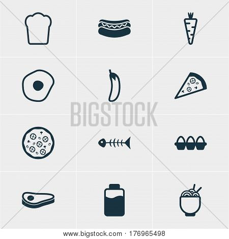 Vector Illustration Of 12 Meal Icons. Editable Pack Of Pizzeria, Pizzeria, Lactose And Other Elements.