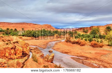 The Asif Ounila river at Ait Ben Haddou in Morocco, North Africa