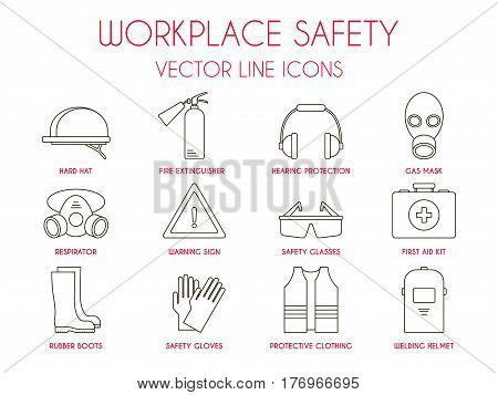 Workplace safety and personal protective equipment thin line icons set: hard hat, hearing protection, gas mask, fire extinguisher, warning sign etc. Vector illustration for website, logo, instruction.