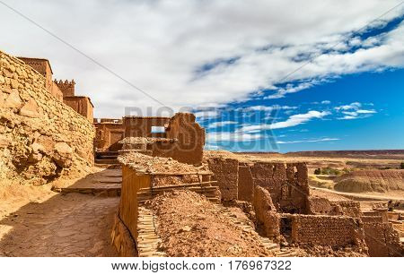 Traditional clay houses in Ait Ben Haddou village, a UNESCO world heritage site in Morocco