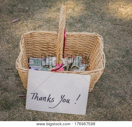 Thank you, Donation Charity tip gift basket with money