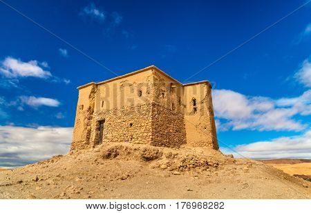 Traditional clay house in Ait Ben Haddou village, a UNESCO world heritage site in Morocco