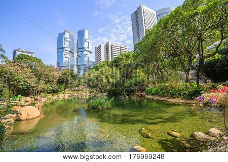 Beautiful view of pond at the lush Hong Kong Park surrounded by skyscrapers in the Central business district in Hong Kong island. Sunny day with blue sky.