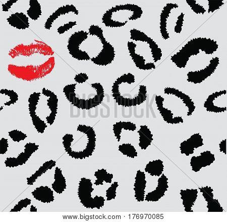 vector illustration of a snow leopard skin with red lipstick kiss