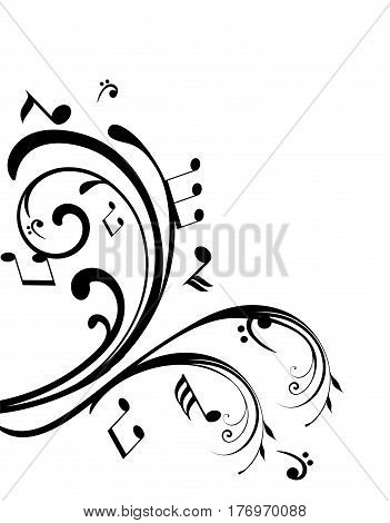 vector illustration of swirls with musical notes