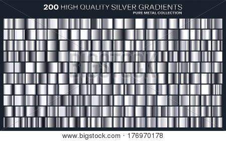 Silver gradient, pattern, template.Set of colors for design, collection of high quality gradients.Metallic texture, shiny background.Pure metal.Suitable for text , mockup, banner, ribbon or ornament.